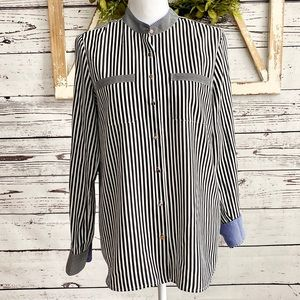 Banana Republic Black White Stripe Button Down M